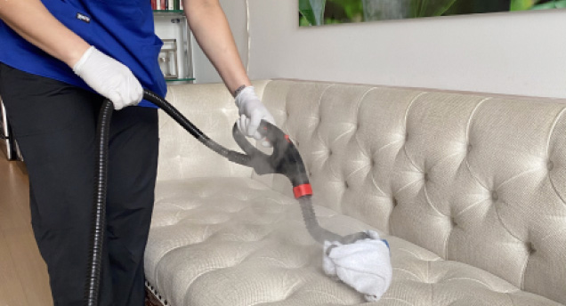 maid steaming couch
